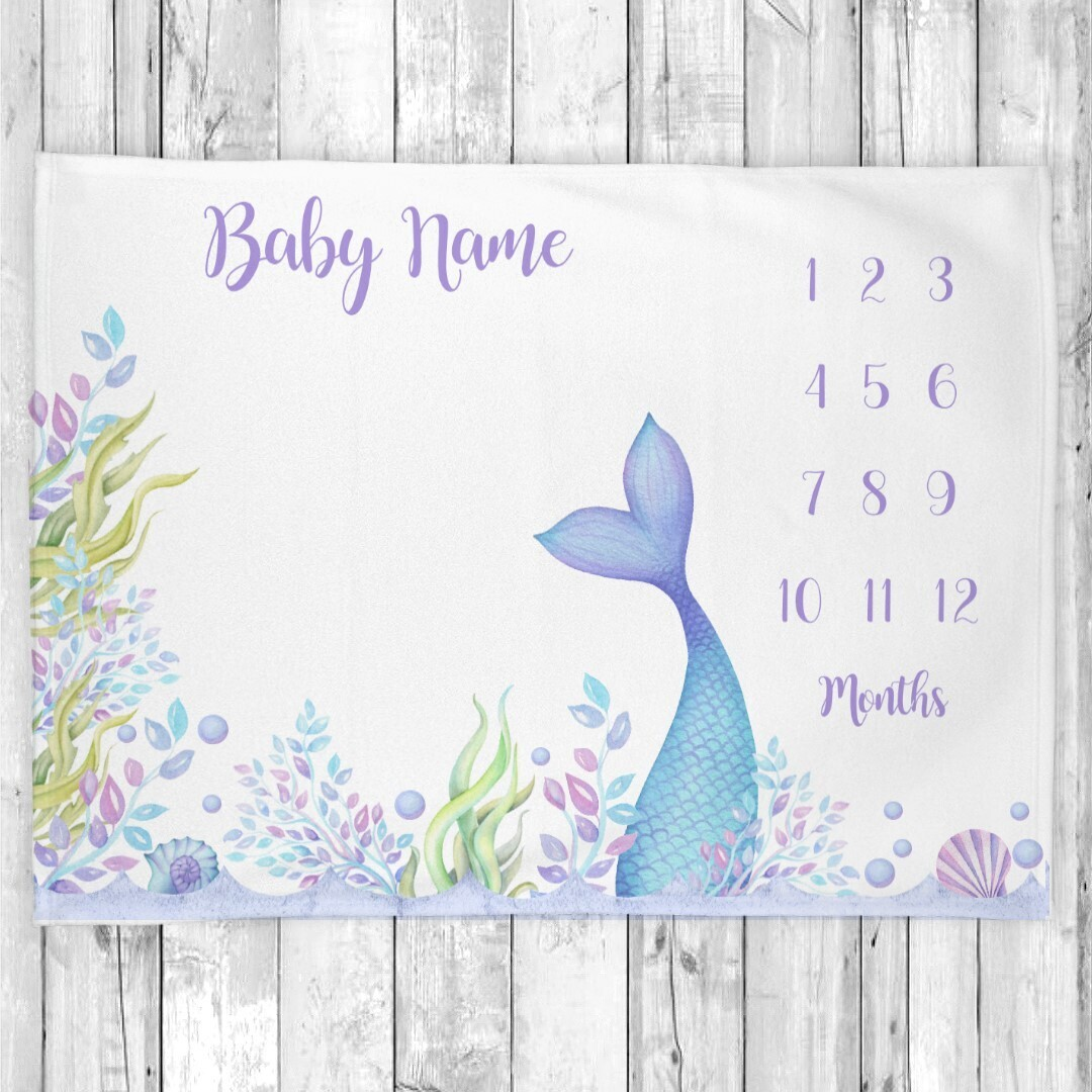 Mermaid Tail Baby Girl Personalized Milestone Blanket Baby Nursery Decor Month New Baby Shower Gift Baby Photo Op Backdrop