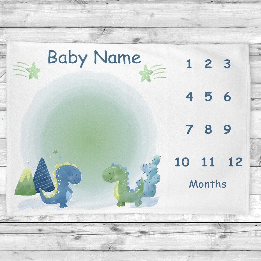 Dinosaur Blue Green Baby Boy Milestone Blanket Baby Nursery Decor Month New Baby Shower Gift Baby Photo Op Backdrop