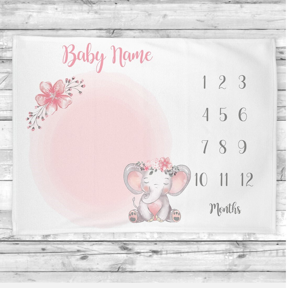 Pink Flowers Elephant Baby Girl Milestone Blanket Baby Nursery Decor Month New Baby Shower Gift Baby Photo Op Backdrop