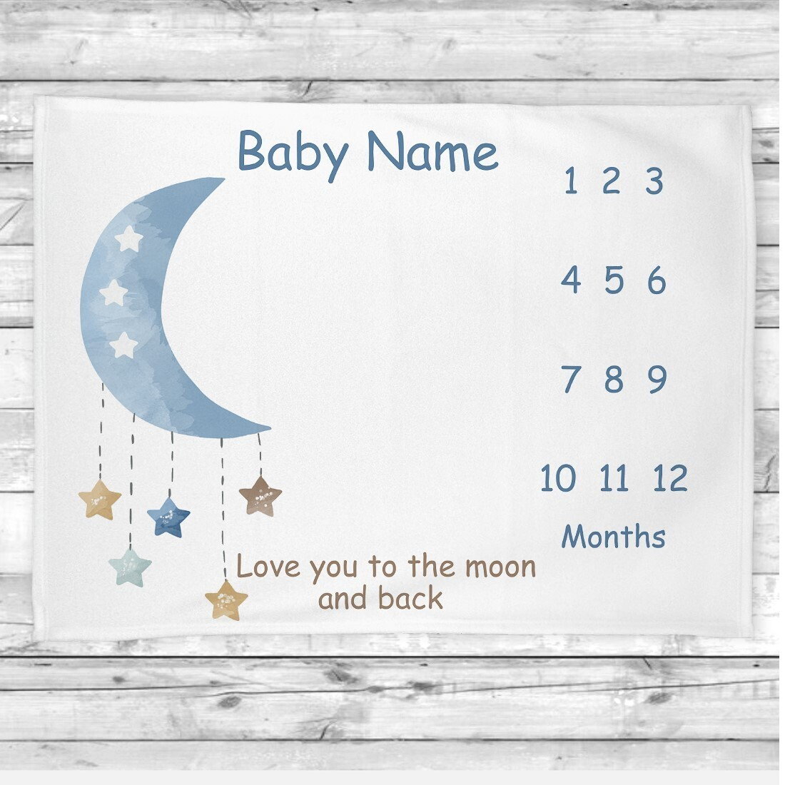 Personalized Baby Boy Milestone Blanket Baby Nursery Decor Month New Baby Shower Gift Baby Photo Op Backdrop