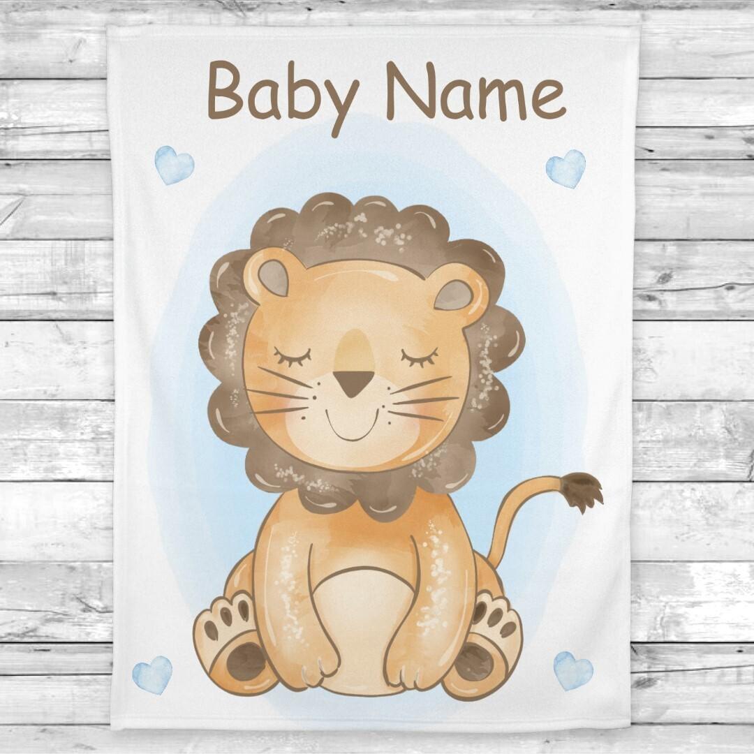 Lion Baby Boy Blanket Personalized Baby Nursery Decor New Baby Shower Gift Crib Blanket Tummy Time