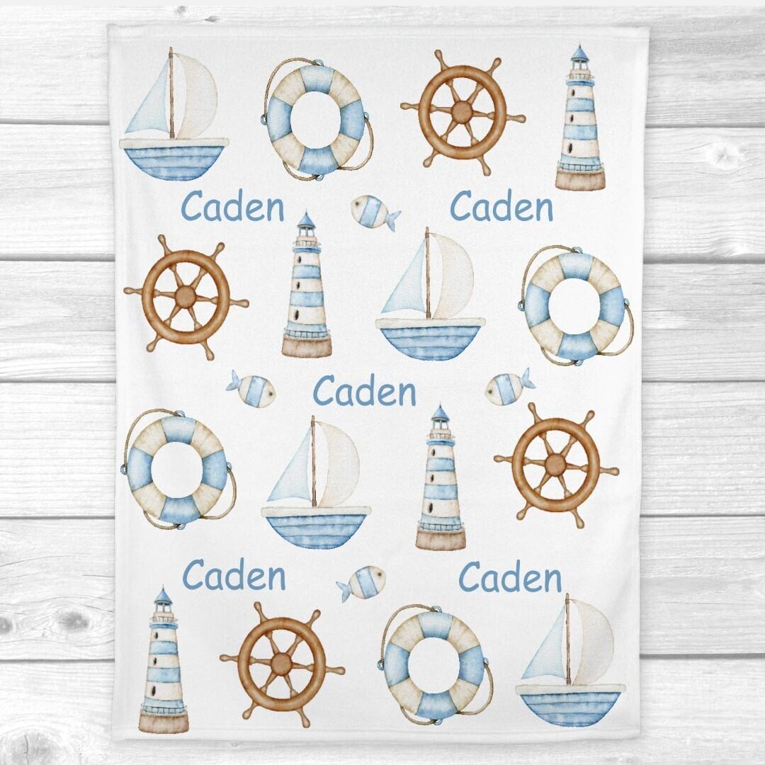 Personalized Baby Boy Blanket Nautical Baby Nursery Decor New Baby Shower Gift Crib Blanket Tummy Time