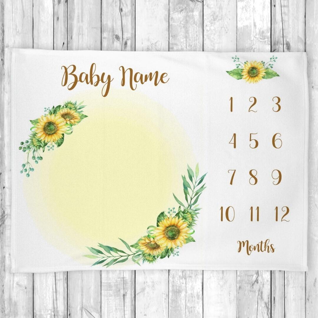 Sunflowers Baby Girl Milestone Blanket Baby Nursery Decor Month New Baby Shower Gift Baby Photo Op Backdrop