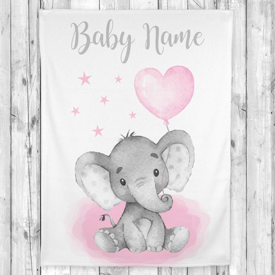 Pink Elephant Baby Girl Blanket Personalized Baby Nursery Decor New Baby Shower Gift Crib Blanket Tummy Time