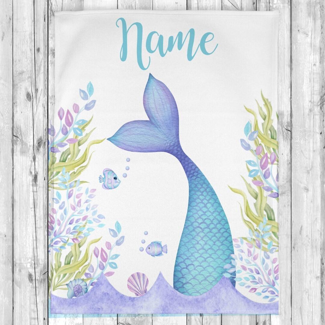 Mermaid Tail Girl Blanket Personalized Baby Nursery Decor New Baby Shower Gift Crib Blanket Tummy Time
