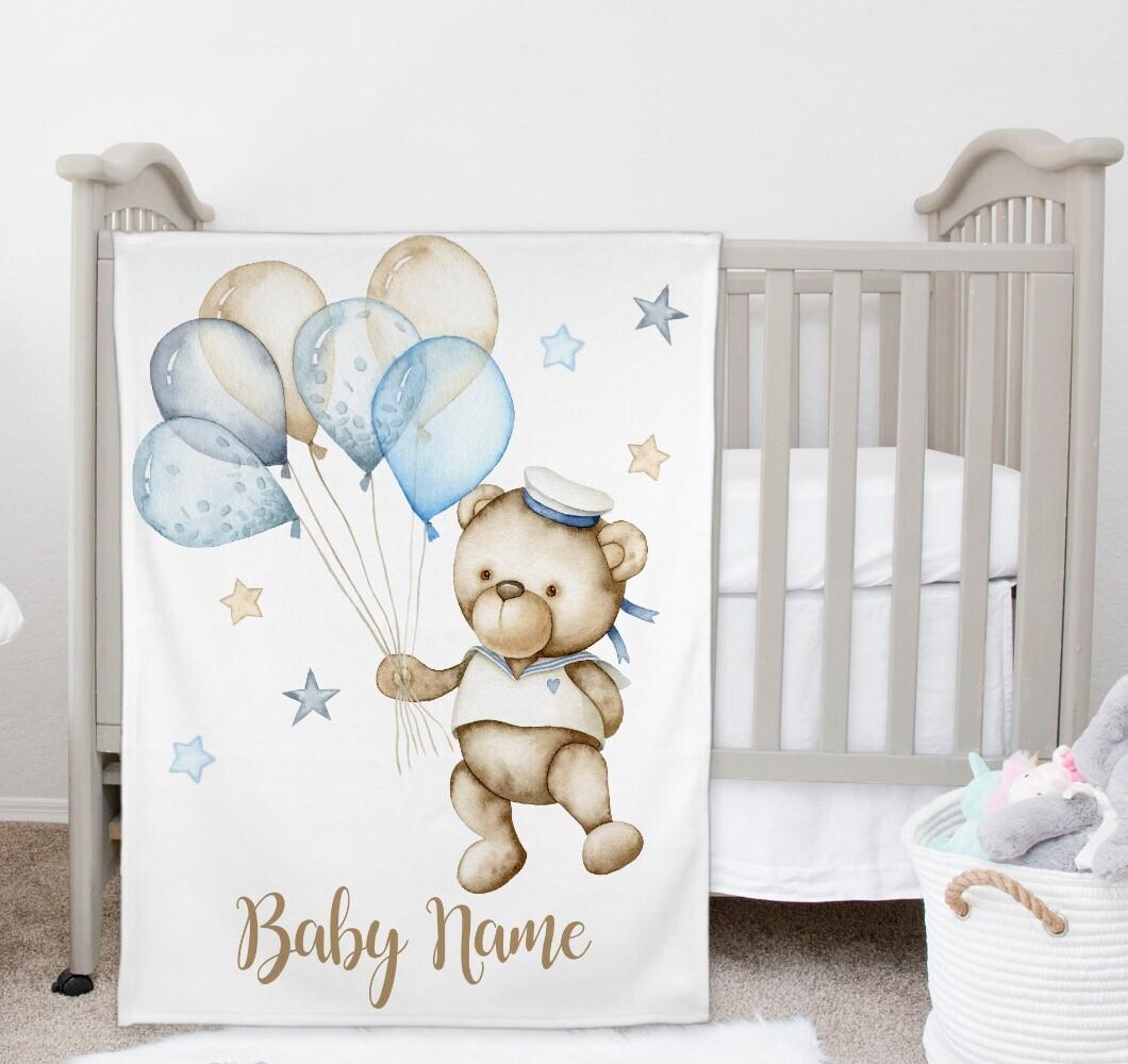 Teddy Bear Blue Balloons Baby Boy Blanket Personalized Baby Nursery Decor New Baby Shower Gift Crib Blanket Tummy Time
