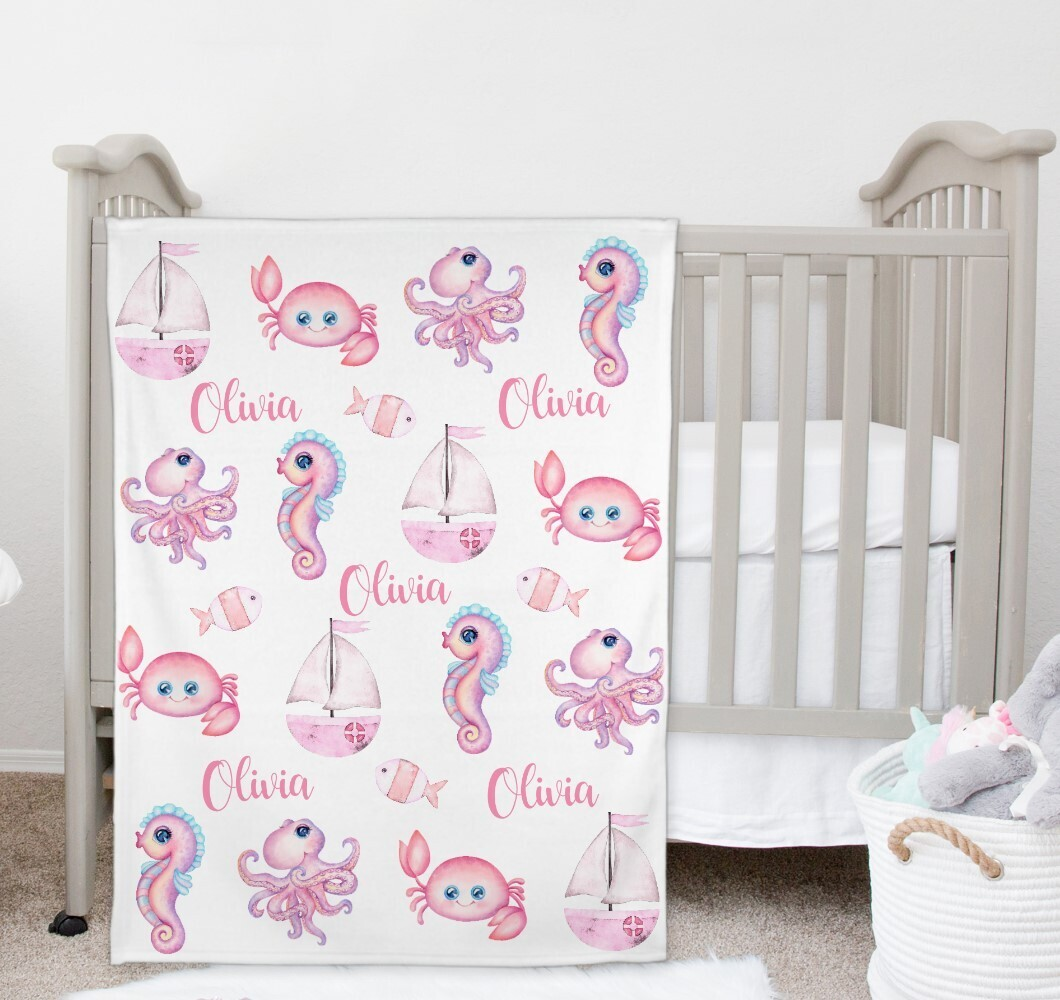 Under The Creature Baby Girl Blanket Personalized Baby Nursery Decor New Baby Shower Gift Crib Blanket Tummy Time