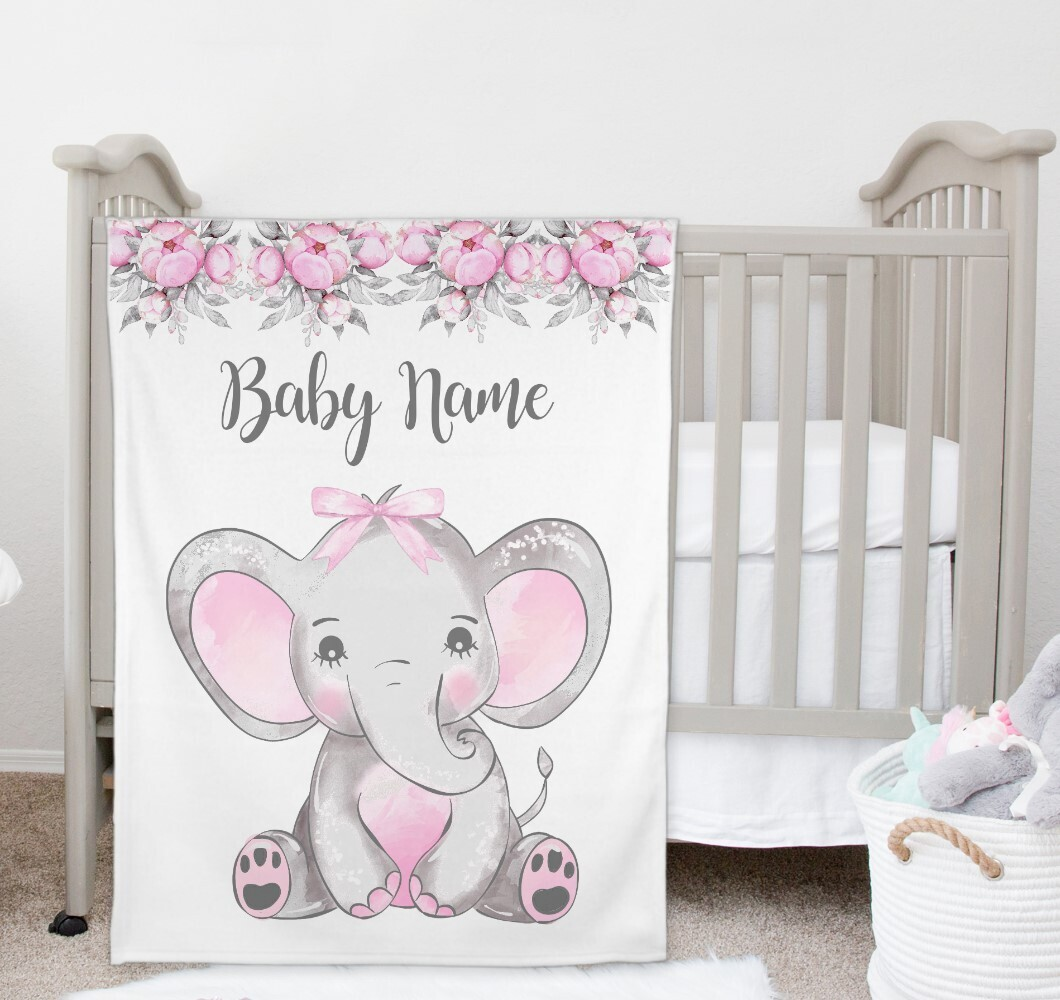 Pink Floral Elephant Baby Girl Blanket Personalized Baby Nursery Decor New Baby Shower Gift Crib Blanket Tummy Time