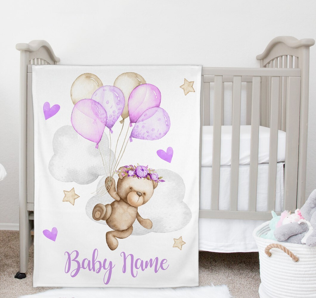 Teddy Bear Baby Girl Blanket Personalized Baby Nursery Decor New Baby Shower Gift Crib Blanket Tummy Time