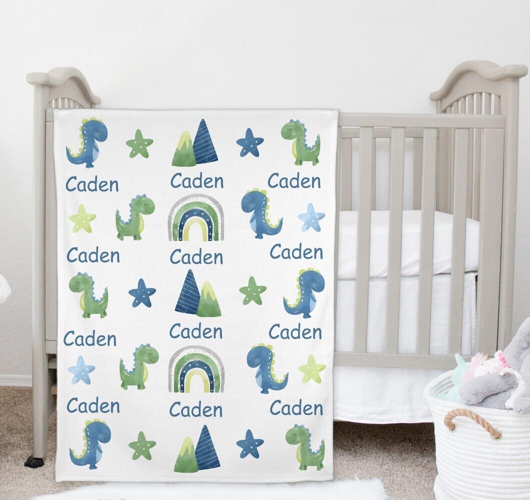 Dinosaur Baby Boy Blanket Personalized Baby Nursery Decor New Baby Shower Gift Crib Blanket Tummy Time