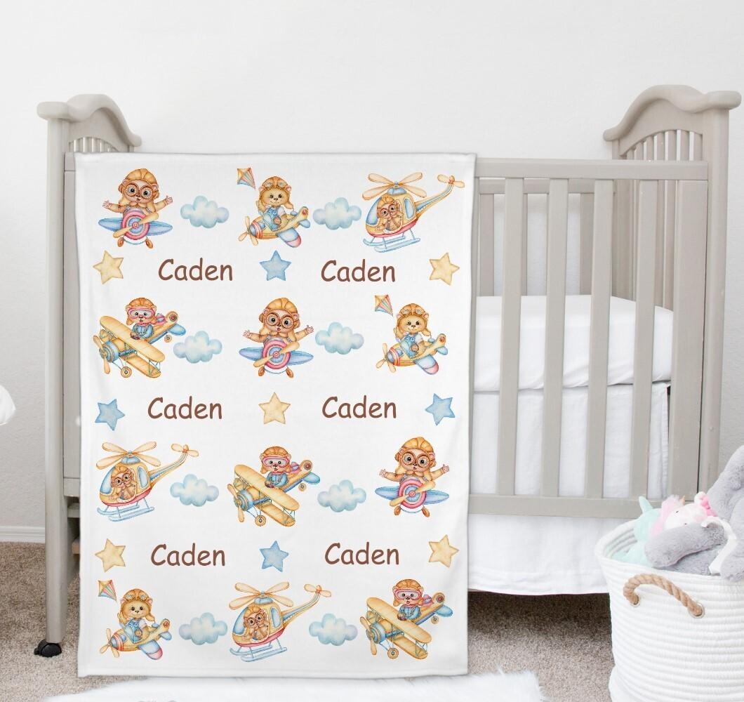 Teddy Bears Airplane Baby Boy Blanket Personalized Baby Nursery Decor New Baby Shower Gift Crib Blanket Tummy Time