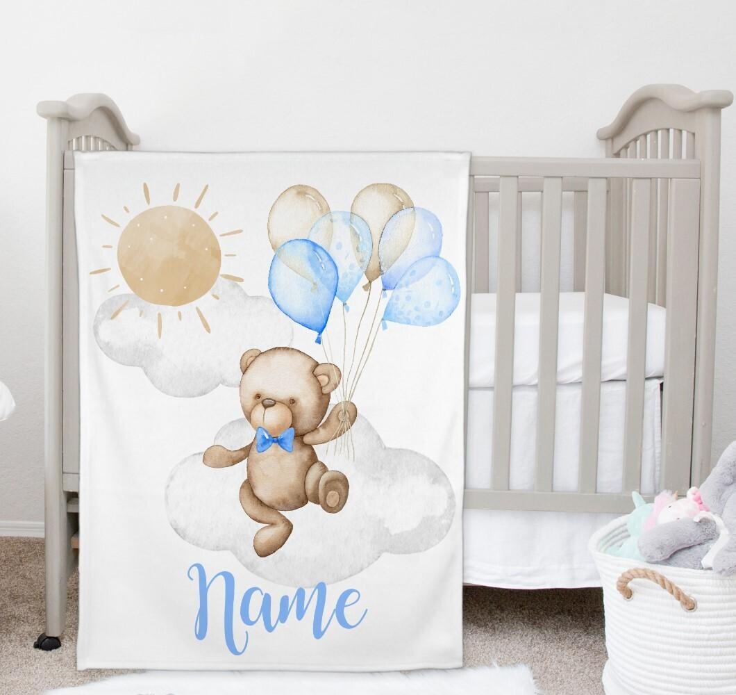 Teddy Bear Balloons Baby Boy Blanket Personalized Baby Nursery Decor New Baby Shower Gift Crib Blanket Tummy Time