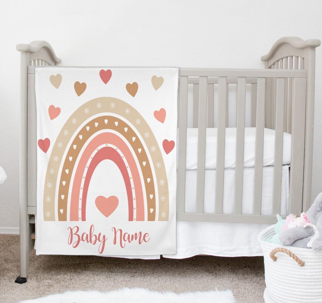Boho Rainbow Baby Girl Blanket Personalized Baby Nursery Decor New Baby Shower Gift Crib Blanket Tummy Time