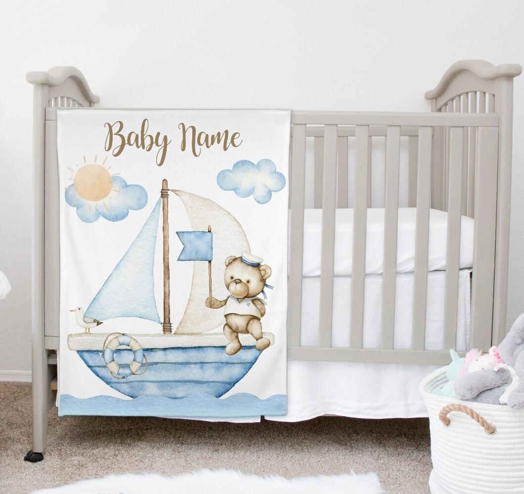 Teddy Bear Nautical Baby Boy Blanket Personalized Baby Nursery Decor New Baby Shower Gift Crib Blanket Tummy Time