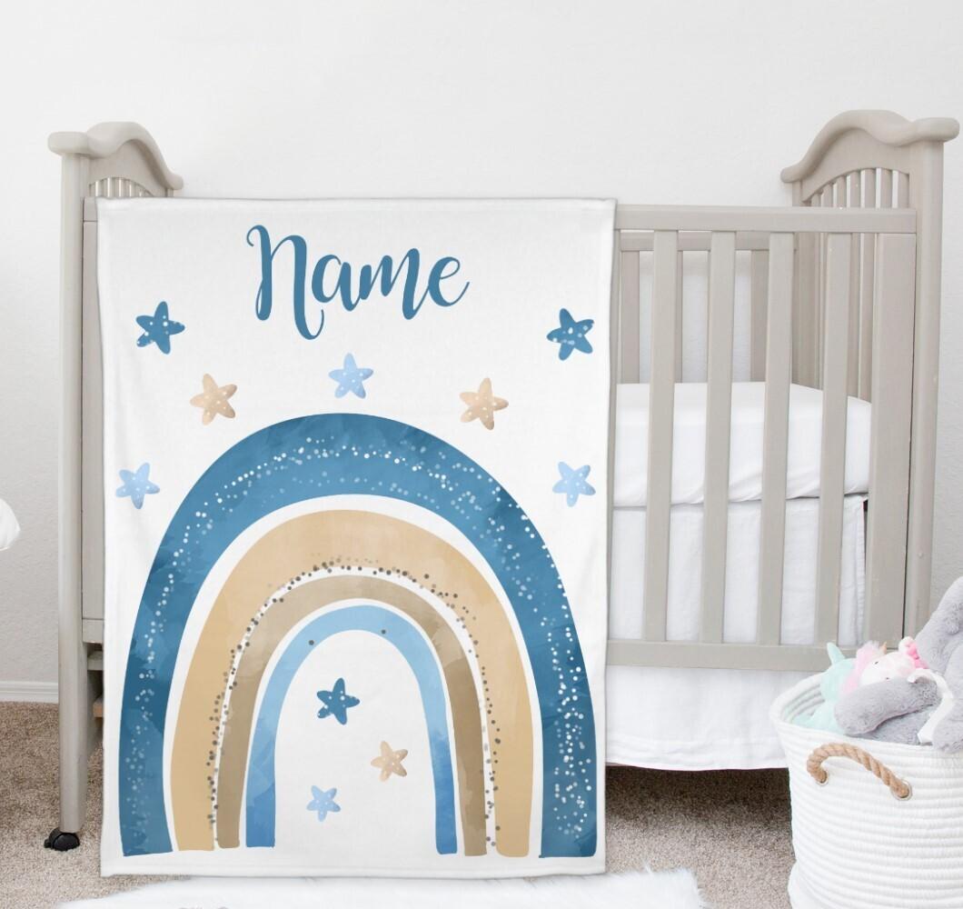Rainbow Baby Boy Blanket Personalized Baby Nursery Decor New Baby Shower Gift Crib Blanket Tummy Time