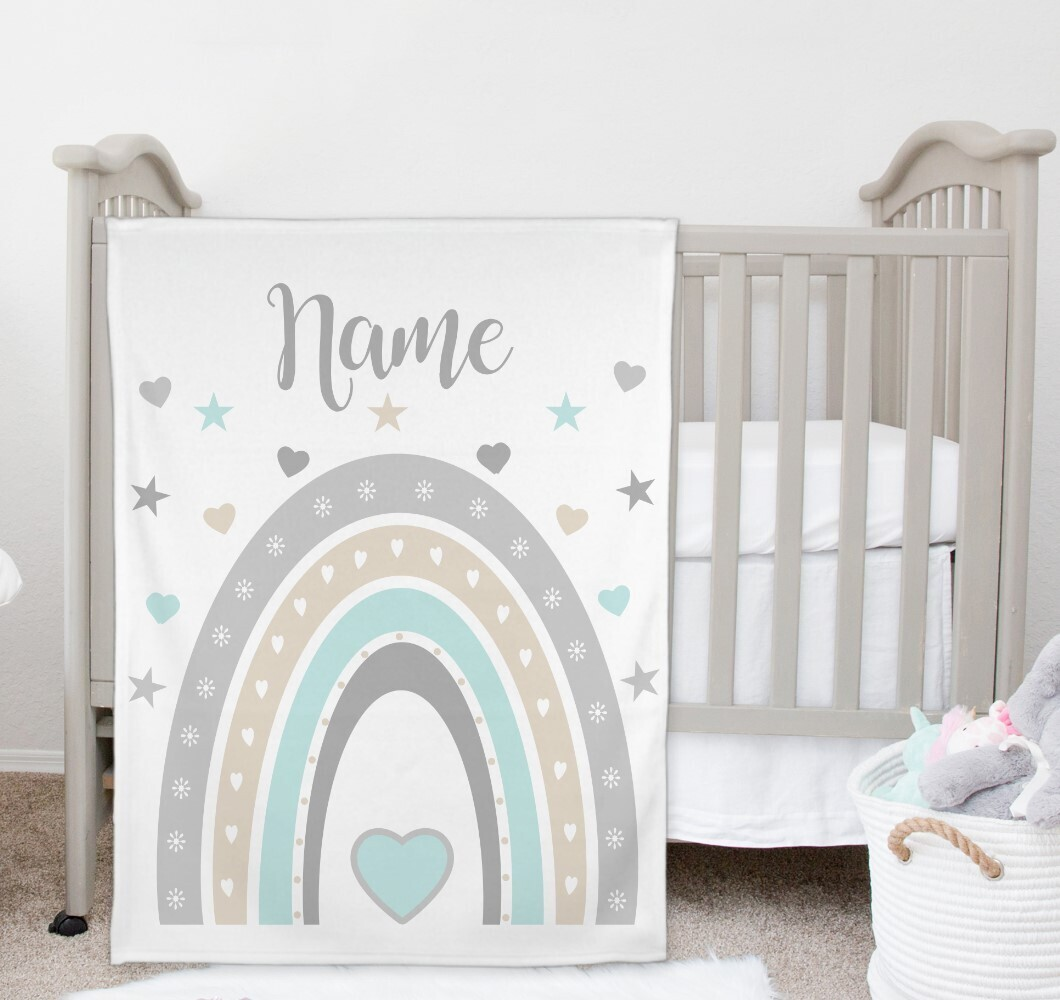 Rainbow Gender Neutral Baby Blanket Personalized Baby Nursery Decor New Baby Shower Gift Crib Blanket Tummy Time