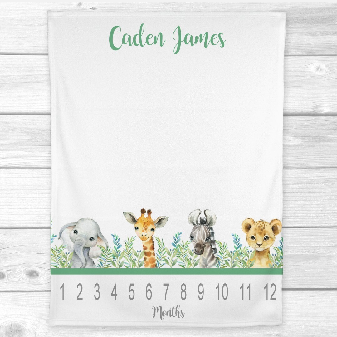 Safari Animals Milestone Baby Personalized Monthly Gender Neutral Baby Blanket New Baby Shower Gift Baby Photo Op Backdrop