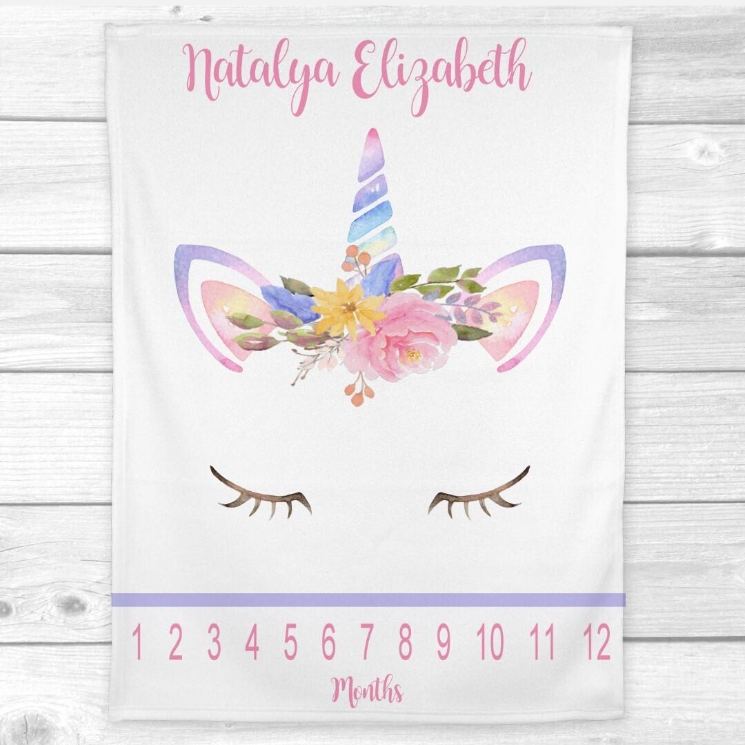 Unicorn Milestone Baby Girl Blanket Personalized Monthly Baby Blanket New Baby Shower Gift Baby Photo Op Backdrop