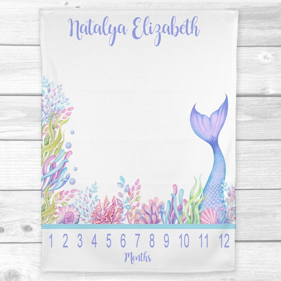 Mermaid Tail Milestone Baby Girl Blanket Personalized Monthly Baby Blanket New Baby Shower Gift Baby Photo Op Backdrop