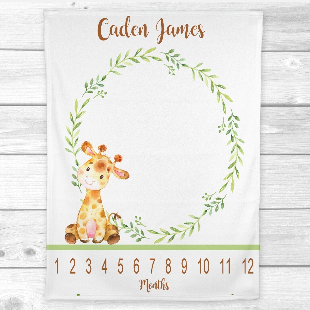 Giraffe Milestone Baby Blanket Personalized Monthly Baby Blanket New Baby Shower Gift Baby Photo Op Backdrop Gender Neutral