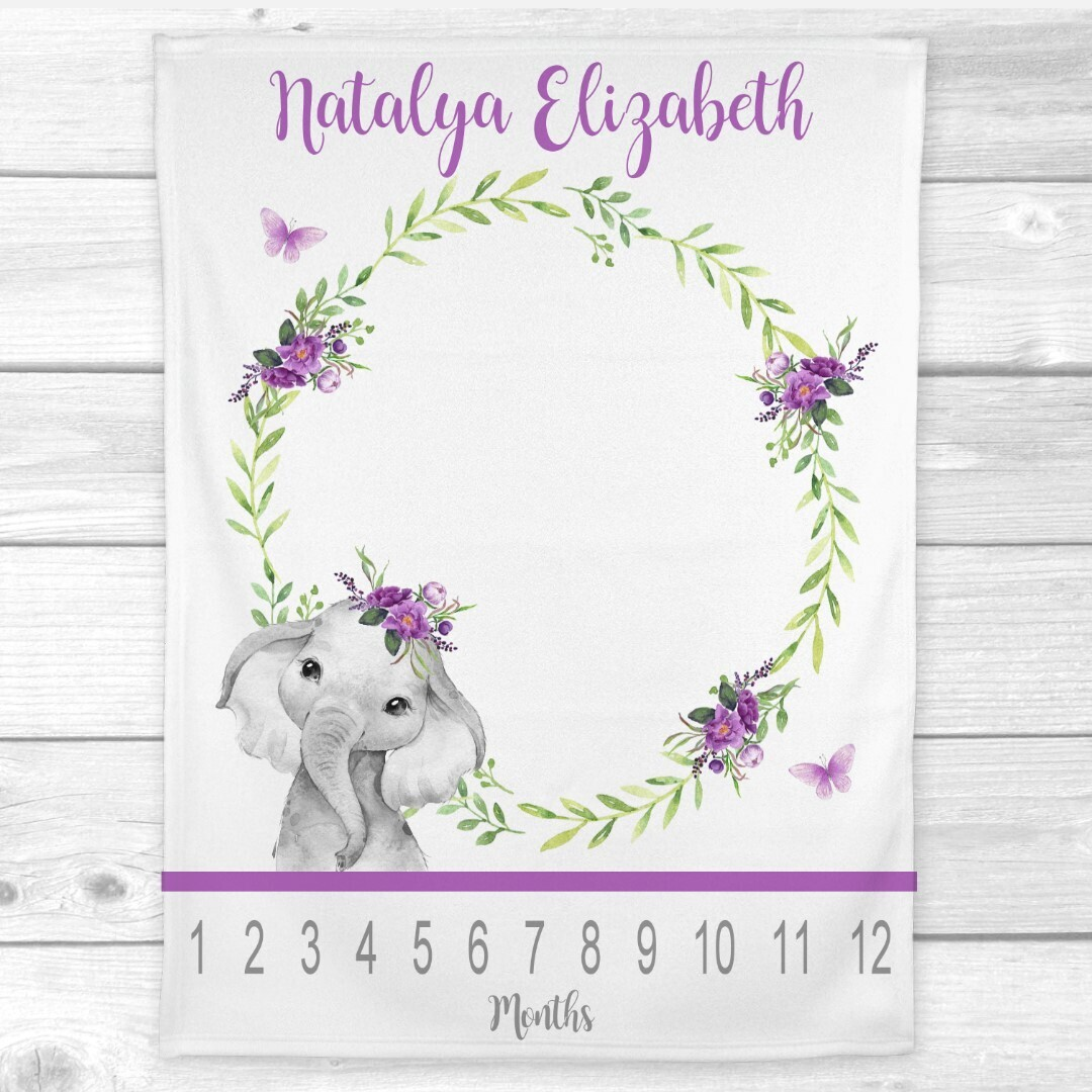 Milestone Baby Girl Blanket Purple Floral Crown Elephant Personalized Monthly Baby Blanket New Baby Shower Gift Baby Photo Op Backdrop