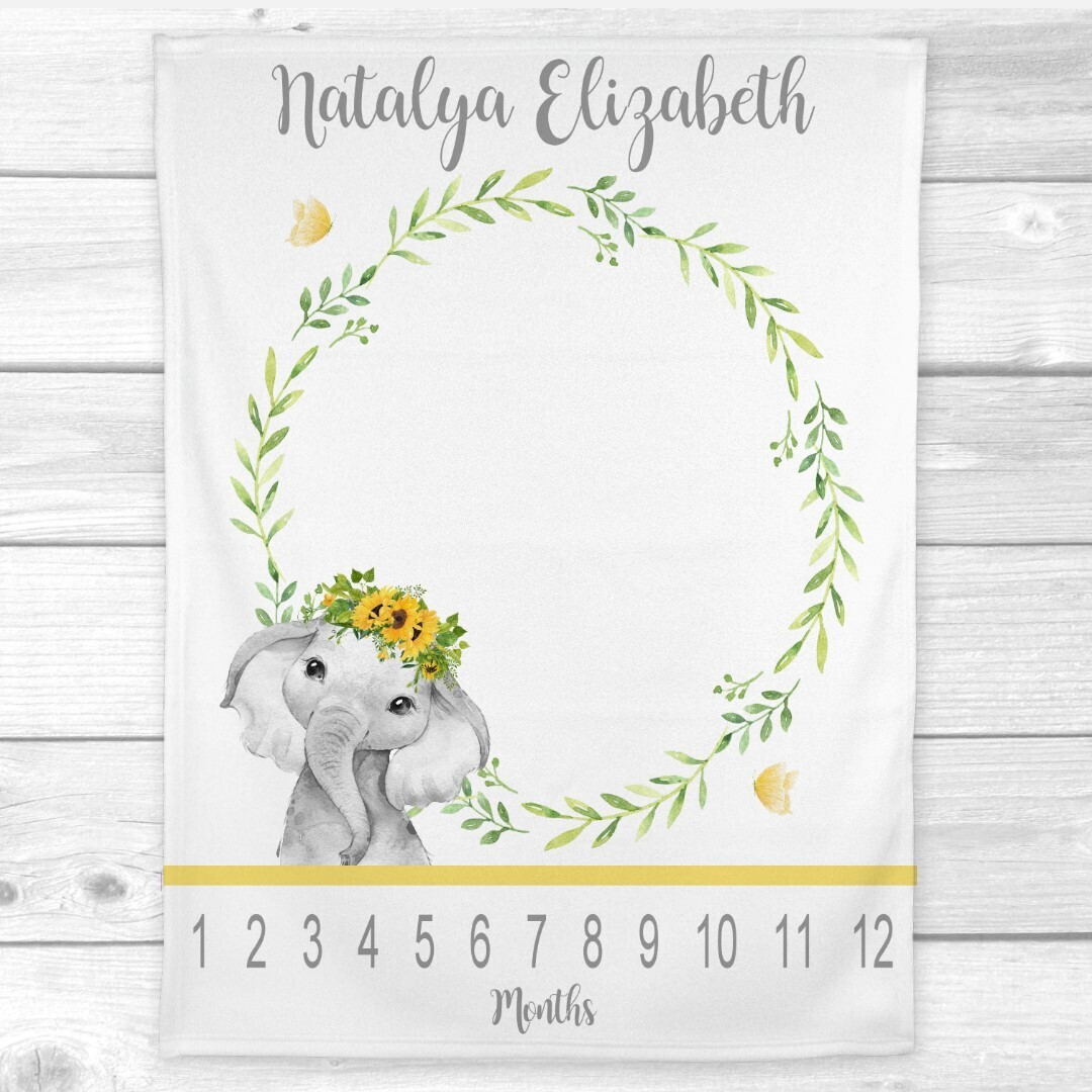 Sunflower Milestone Baby Girl Blanket Yellow Floral Crown Elephant Personalized Monthly Baby Blanket New Baby Shower Gift Baby Photo Op Backdrop
