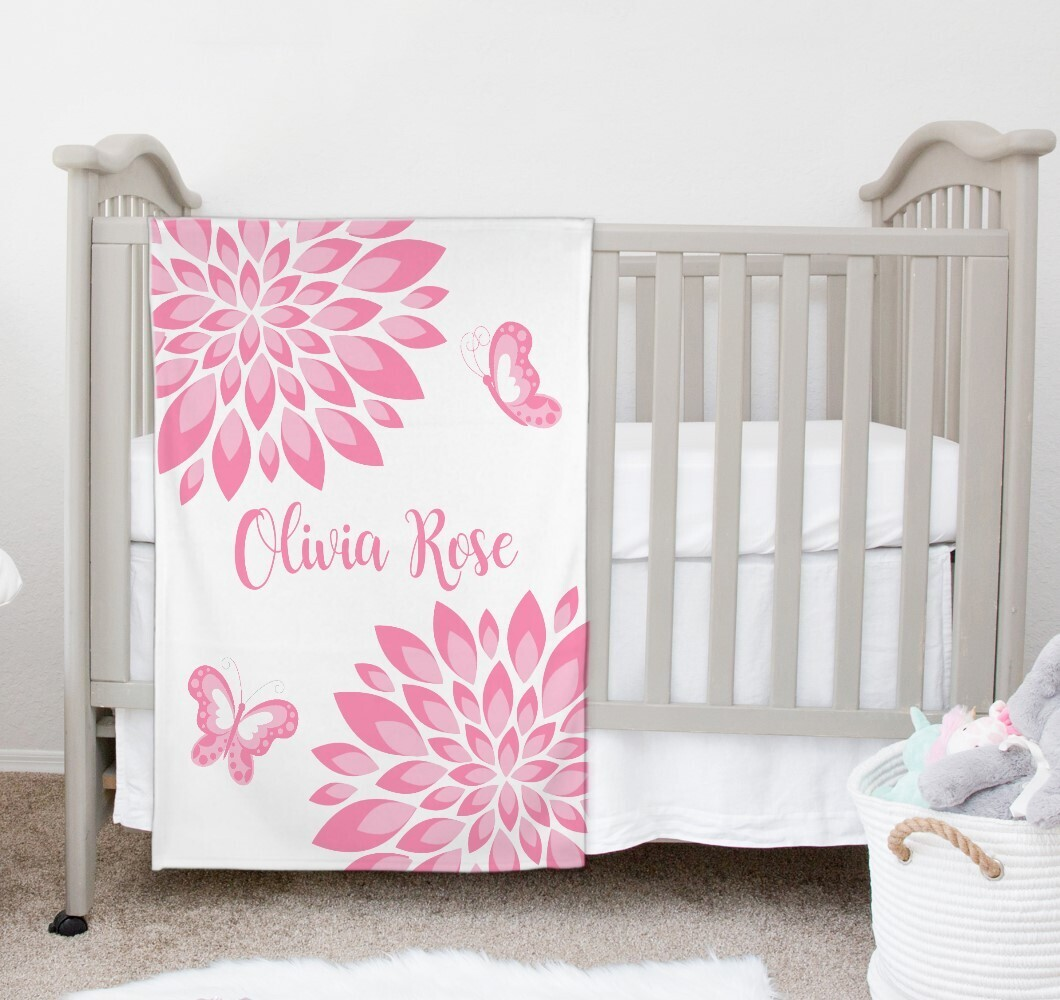 Pink Floral Baby Girl Blanket Personalized Butterfly Baby Nursery Decor New Baby Shower Gift Crib Blanket Tummy Time