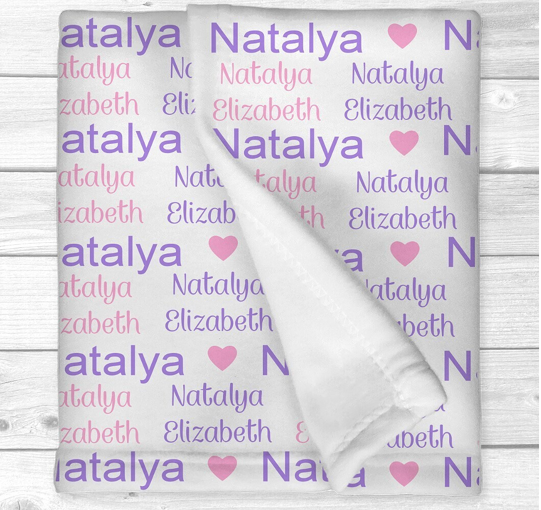 Personalized Baby Girl Blanket Pink Purple Name Baby Nursery Decor New Baby Shower Gift Crib Blanket Tummy Time