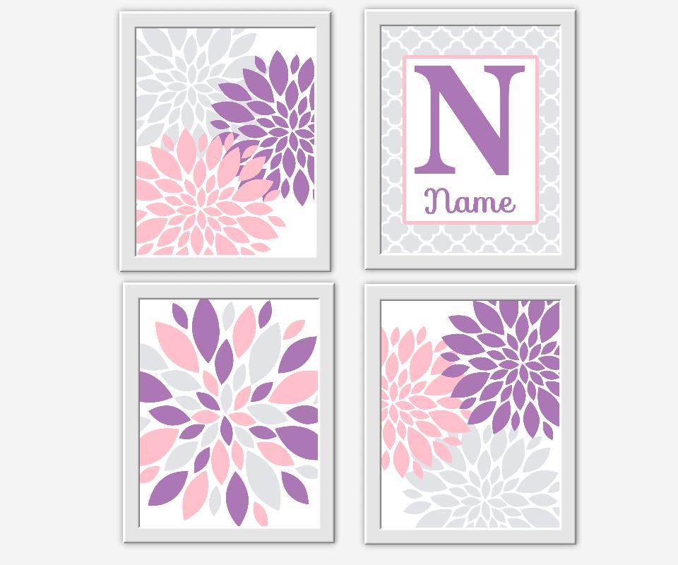 Baby Girl Nursery Wall Decor Pink Purple Gray Flower Bursts Dahlias Girl Room Wall Art Personalize Name Art Baby Nursery Decor Floral Prints