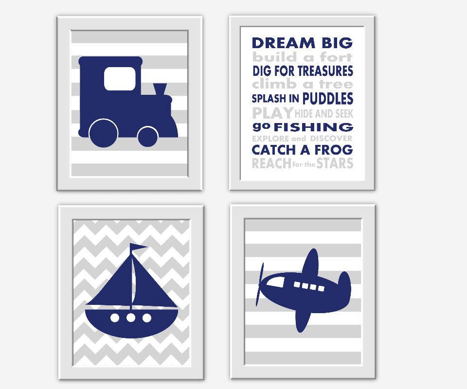 Navy Blue Gray Boy Wall Art Train Boat Sailboat Plane Dream Big Boy Room Wall Decor Baby Nursery Decor Blue Grey Transportation Art Prints