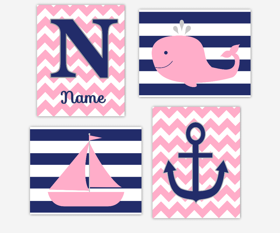 PINK NAVY Nautical Baby Nursery Wall Art Baby Girl Prints Whale Sailboat Monogram Name Personalized Art Anchor Girls Bath Art Bathroom Wall Decor Baby Nursery Decor Baby Girl SET OF 4 UNFRAMED PRINTS