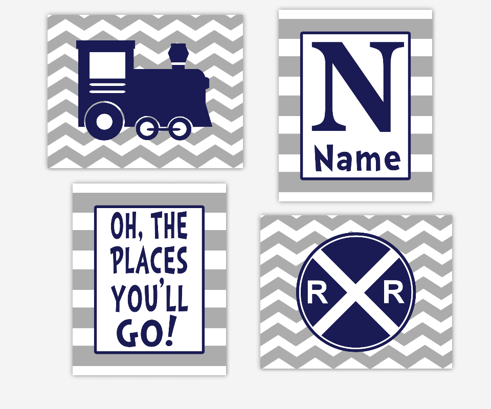 Baby Boy Nursery Art Navy Blue Gray Grey Train Railroad Sign Oh The Places You'll Go Personalize Name Art Chevron Toddler Boy Playroom