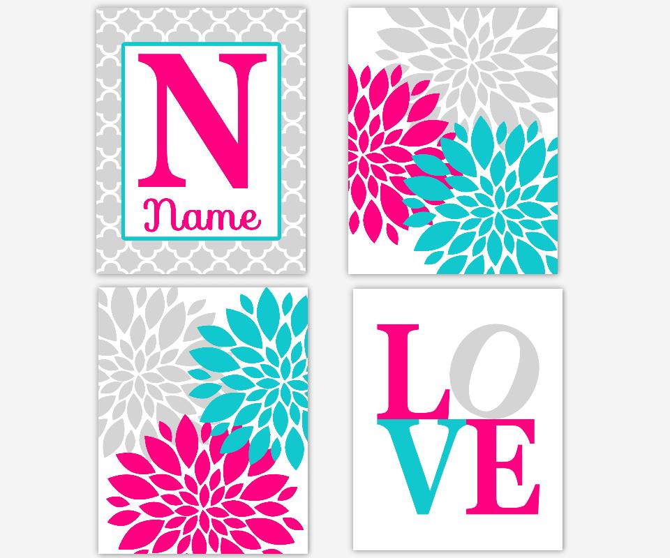 Hot Pink Aqua Teal Gray Grey Personalize Name Art Flower Burst Dahlia Mums Modern Floral Wall Decor Baby Girl Nursery Prints Quatrefoil SET OF 4 UNFRAMED PRINTS