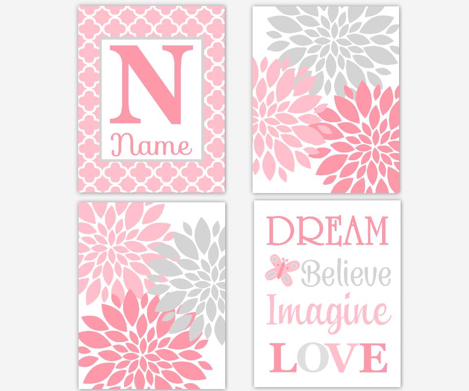 Baby Girl Nursery Art Pink Gray Grey Flower Burst Dahlia Mums Personalized Art Dream Believe Imagine Love Girl Room Decor SET OF 4 UNFRAMED PRINTS