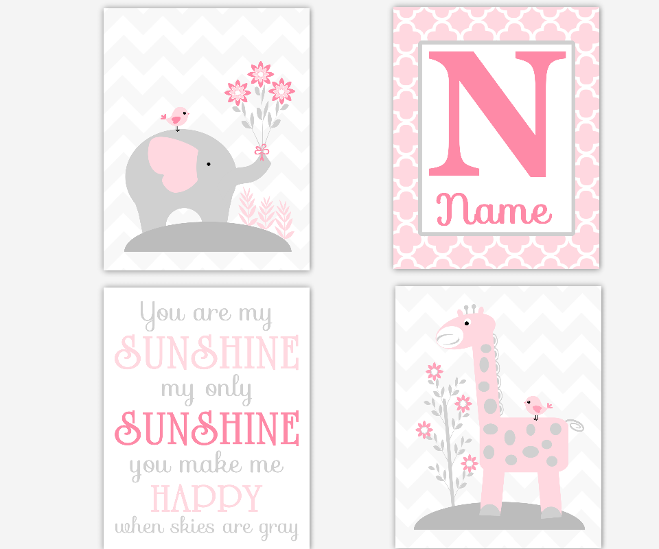 Baby Girl Nursery Art Pink Gray Grey You Are My Sunshine Elephant Giraffe Personalized Decor Baby Nursery Decor Safari Jungle Animals SET OF 4 UNFRAMED PRINTS