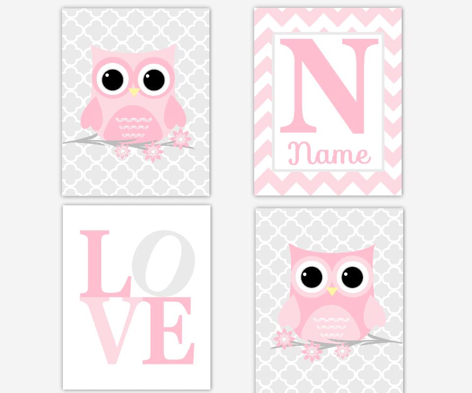 Baby Girl Nursery Art Pink Gray Grey Owls Personalized LOVE Quatrefoil Chevron Baby Nurdery Decor