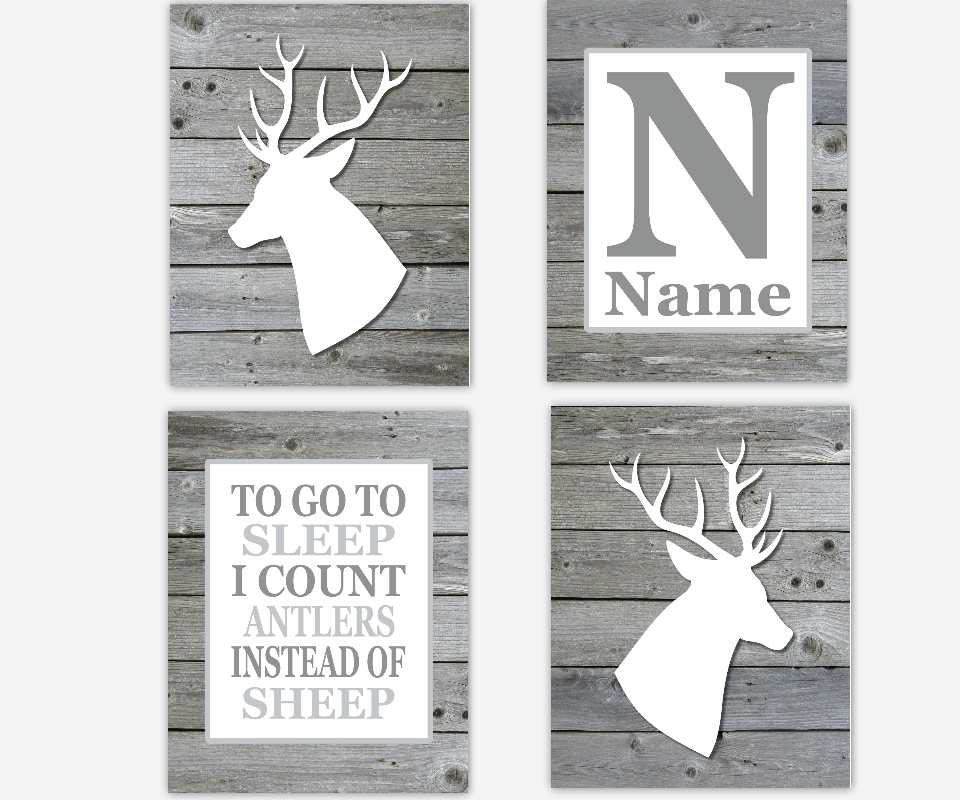 Baby Boy Nursery Wall Art Gray White Deer Head Antlers To Go To Sleep I Count Antlers Personalized Baby Nursery Decor SET OF 4 UNFRAMED PRINTS