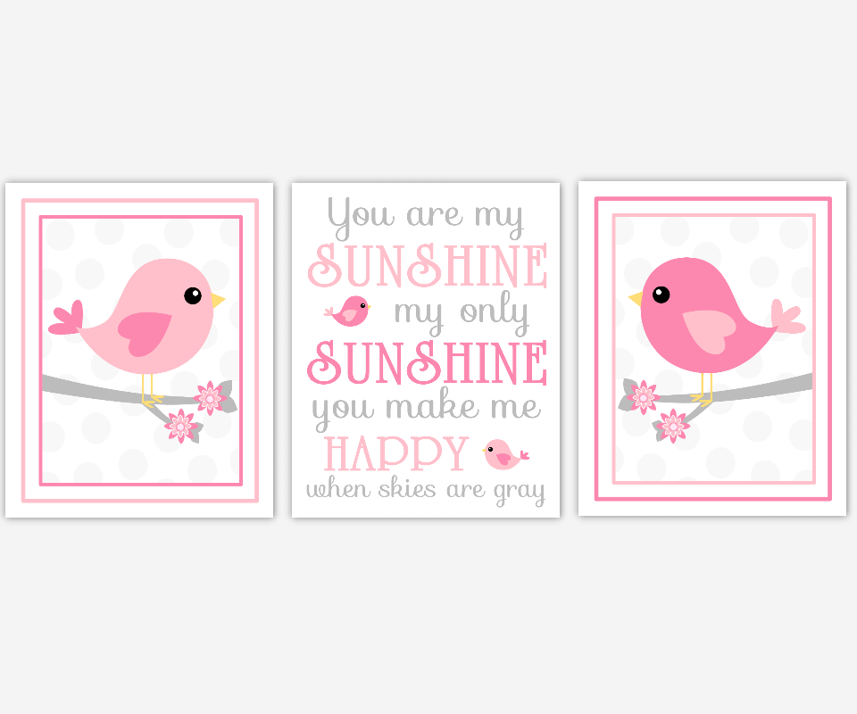 Baby Girl Nursery Art Pink Gray You Are My Sunshine Birds Nursery Song Lyrics Flowers on Branch Baby Nursery Decor SET OF 3 UNFRAMED PRINTS