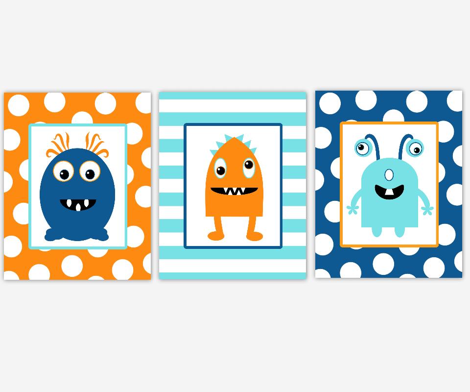 Boy Nursery Wall Art Navy Blue Aqua Teal Orange Monsters Space Aliens Boy Room Prints Playroom Baby Nursery Decor SET OF 3 UNFRAMED PRINTS