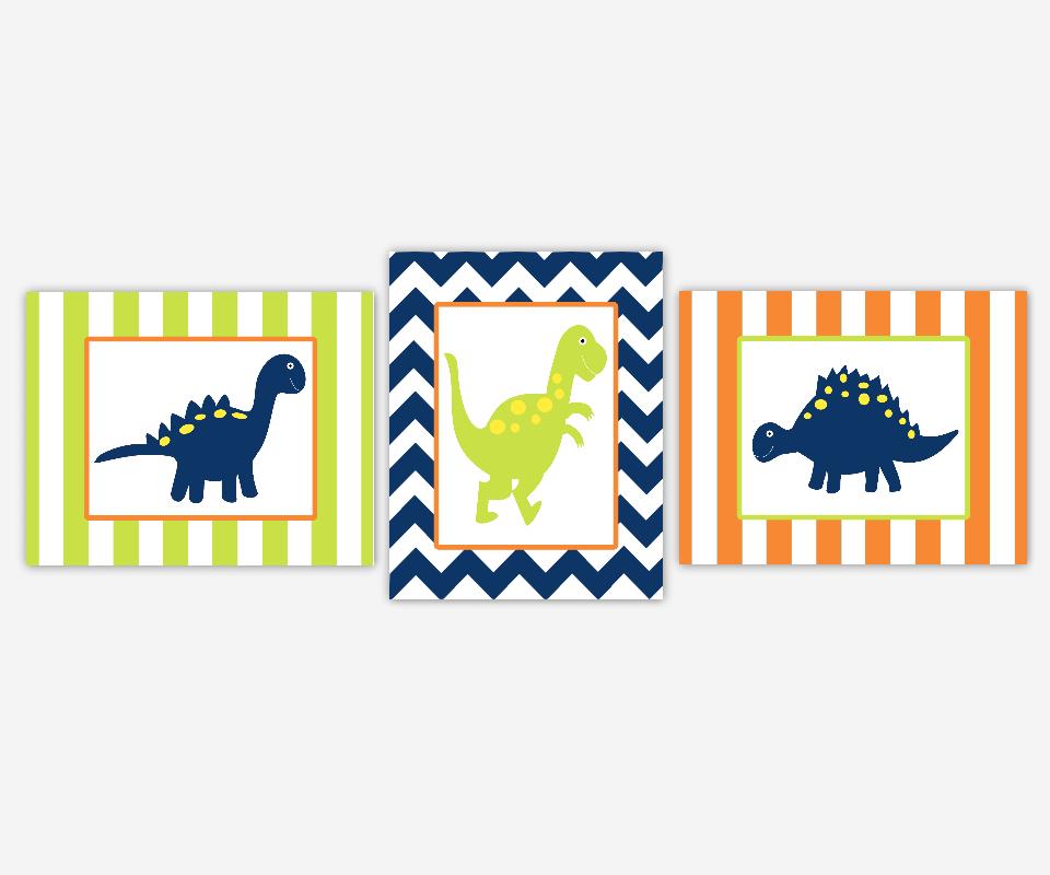Baby Boy Nursery Art Dinosaurs Navy Blue Lime Green Aqua Teal Orange Toddler Boy Playroom Prints Baby Nursery Decor
