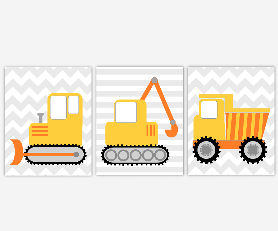 Boy Nursery Wall Construction Trucks Tractor Dump Truck Bulldozer Toddler Boy Room Build Dig Yellow Orange Gray Baby Nursery Decor SET OF 3 UNFRAMED PRINTS