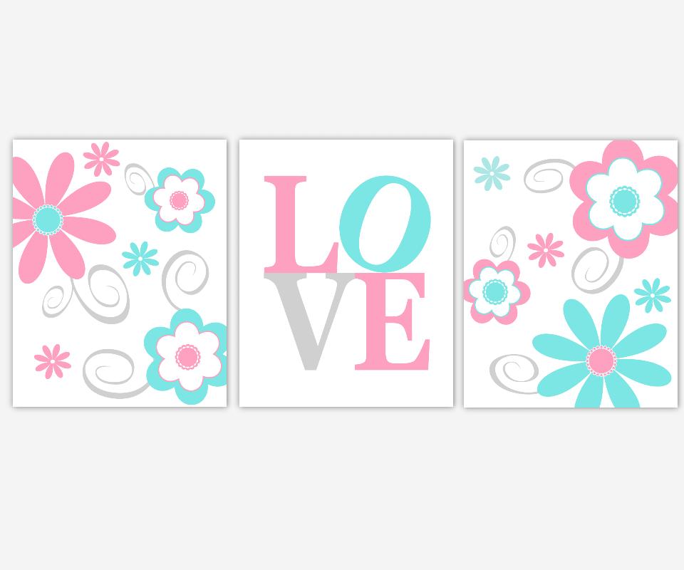 Baby Girl Nursery Art Pink Aqua Teal Flowers Modern Floral Prints Girl Bedroom LOVE Whimsical Baby Nursery Decor SET OF 3 UNFRAMED PRINTS
