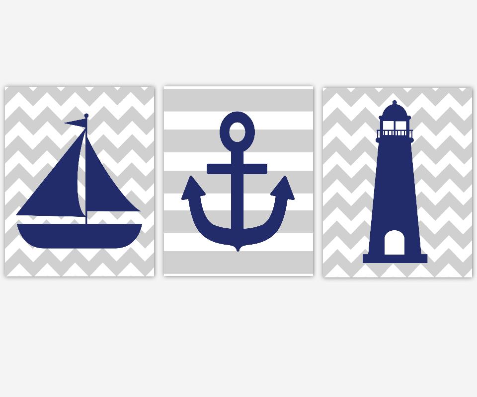 Nautical Boy Wall Art Navy Blue Gray Grey Sailboat Boat Anchor Lighthouse Toddler Boy Bedroom Bath Prints Baby Nursery Decor  SET OF 3 UNFRAMED PRINTS
