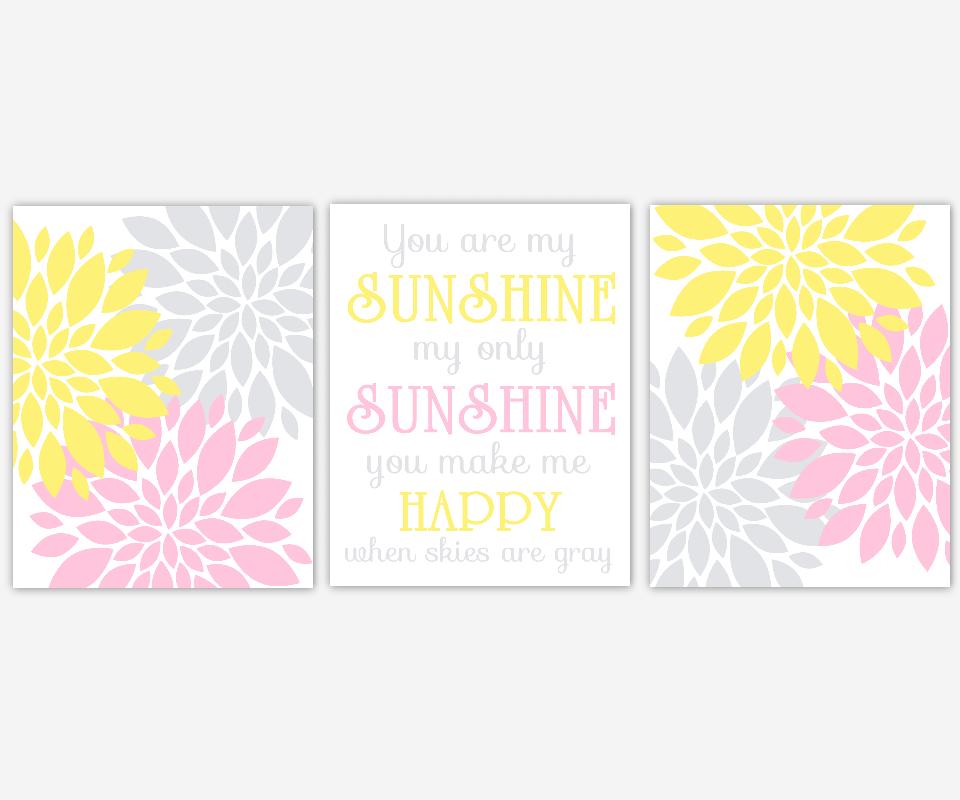 Girl Nursery Wall Art Pink Yellow Gray Grey Flower Burst Dahlia Mums Modern Floral You Are My Sunshine Song Lyrics Girl Room Baby Nursery Decor SET OF 3 UNFRAMED PRINTS