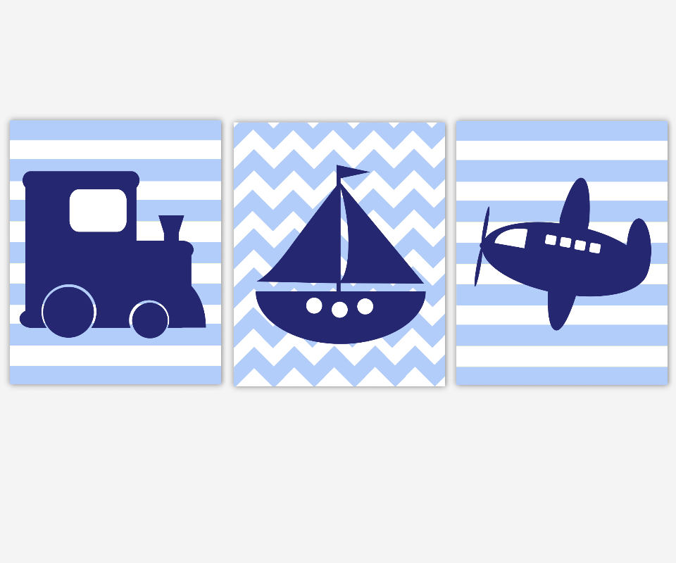 Boy Nursery Wall Art Navy Blue Transportation Train Sailboat Boat Airplane Plane Toddler Boy Bedroom Baby Nursery Decor SET OF 3 UNFRAMED PRINTS