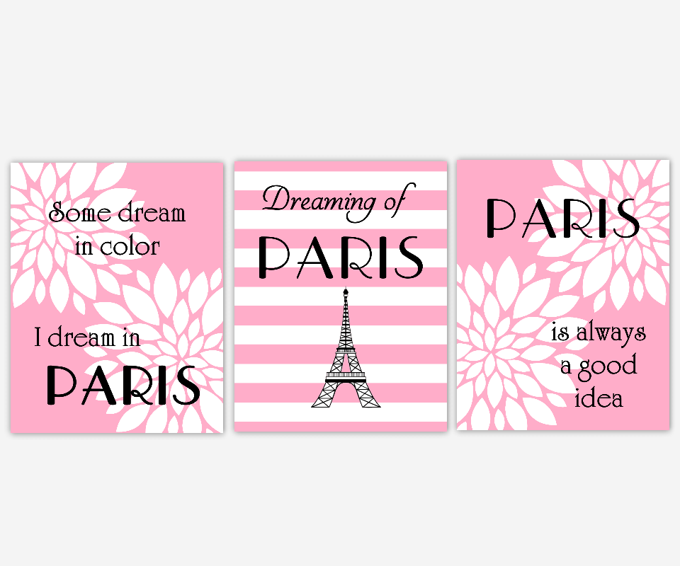 Paris Wall Art Pink White Black Flower Burst Dahlia Mums Modern Floral Silhouette Eiffel Tower Dreaming of Paris Girl Room Decor  SET OF 3 UNFRAMED PRINTS