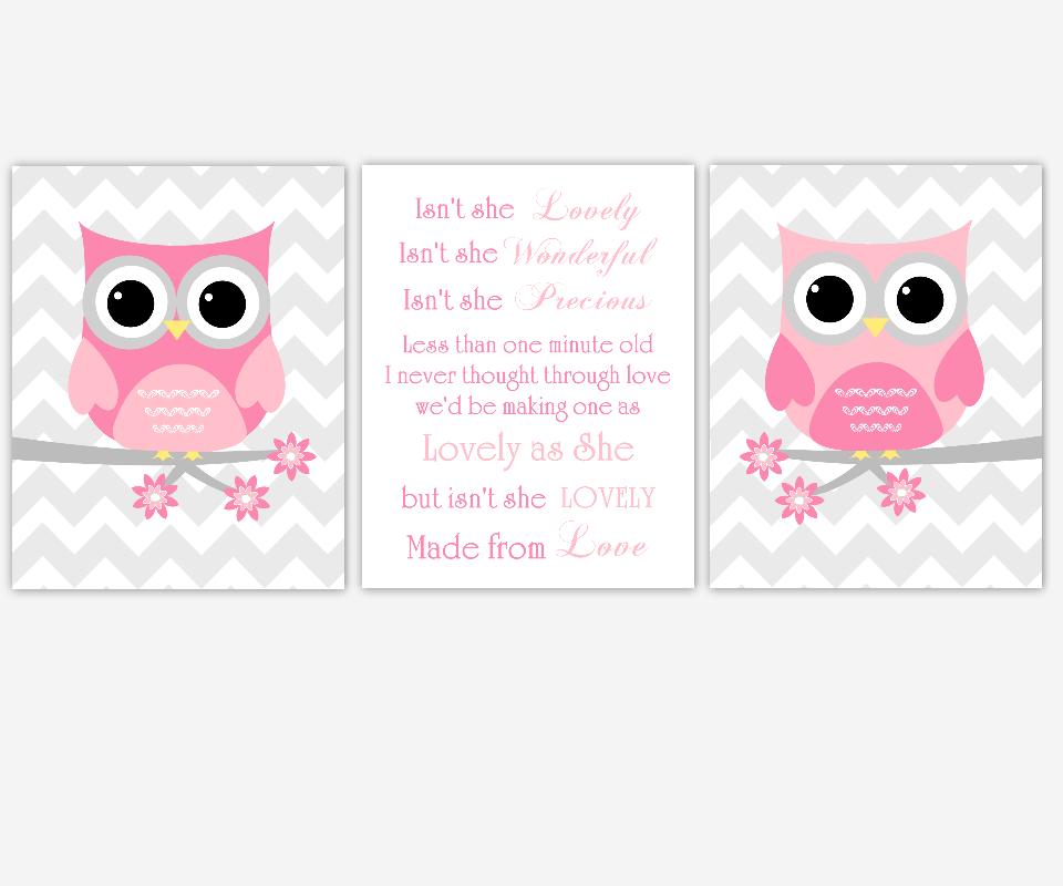 Baby Girl Nursery Art Pink Gray Grey Owls Isn't She Lovely Song Lyrics Chevron Birds Girl Room Baby Nursery Decor