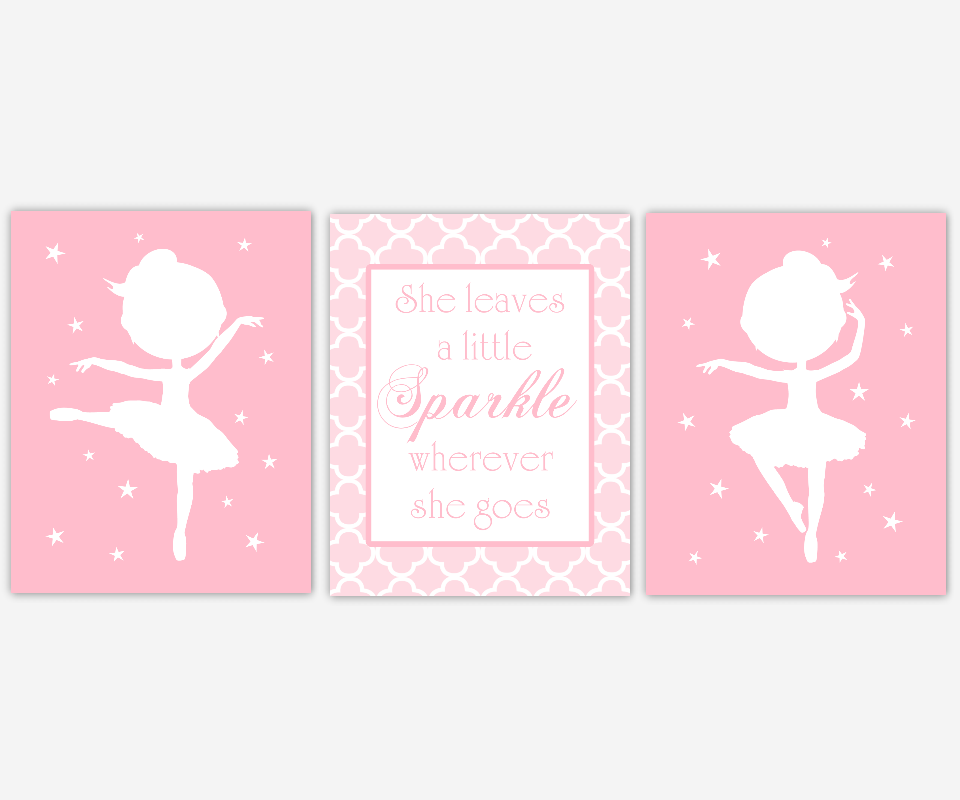 Ballerina Wall Art Pink Girl Nursery Prints She Leaves a Little Sparkle Silhouette Dance Ballet Slippers Toddler Girl Tween Baby Nursery Decor SET OF 3 UNFRAMED PRINTS