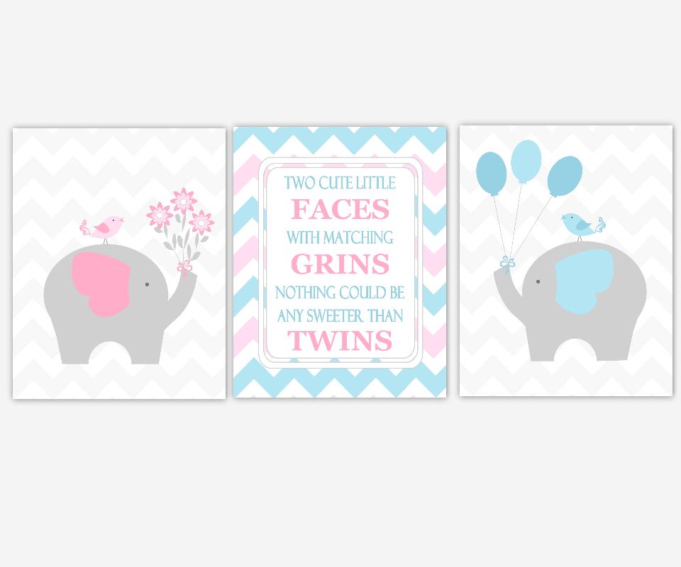 Twins Baby Nursery Art Blue Pink Gray Grey Elephant Two Little Faces Quote Baby Boy Girl Nursery Prints Baby Nursery Decor SET OF 3 UNFRAMED PRINTS