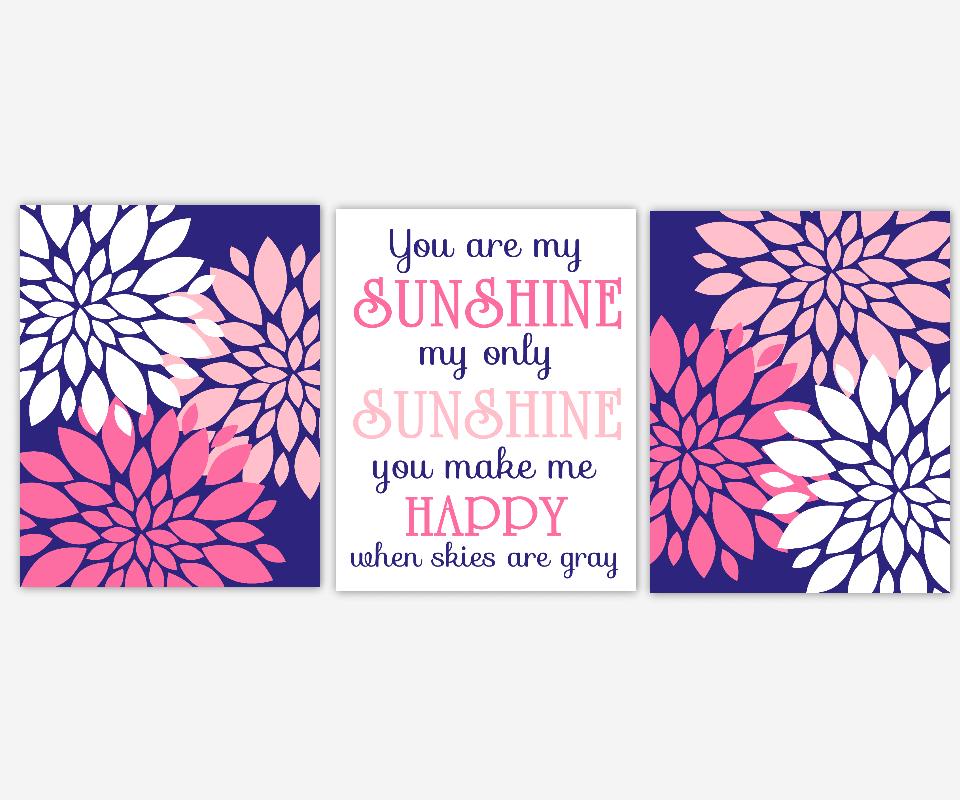 Girl Nursery Wall Art Navy Blue Pink Prints Flower Burst Dahlia Mums You Are My Sunshine Song Lyrics Modern Floral Girl Room Baby Nursery Decor  SET OF 3 UNFRAMED PRINTS